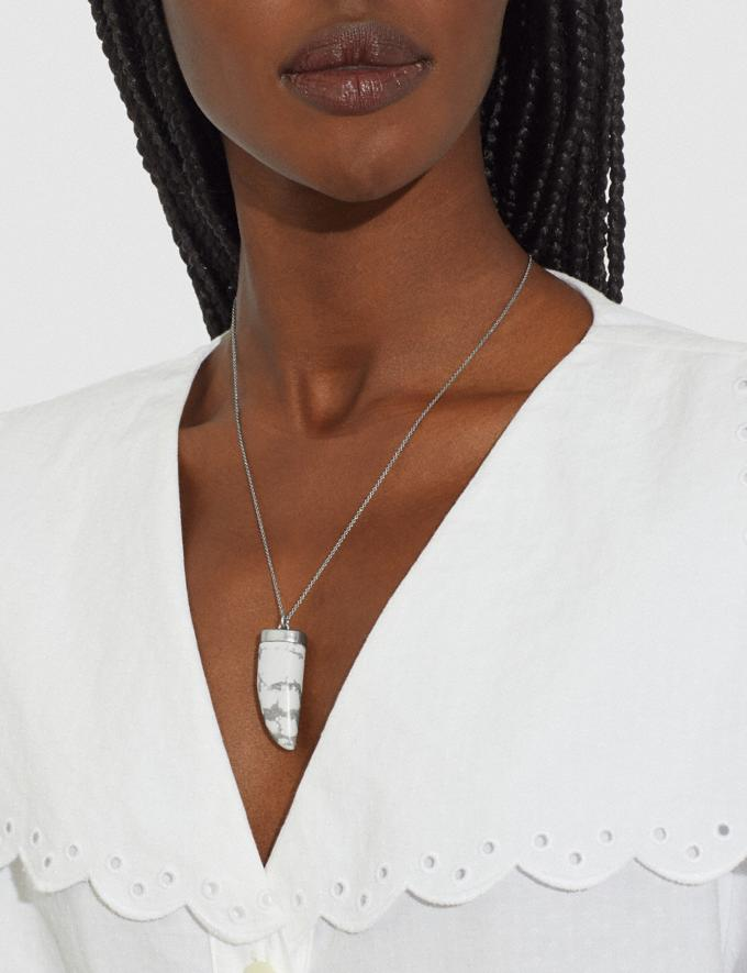 Coach Vintage White Stone Tooth Necklace White 6.1-Otheroutlet Alternate View 1
