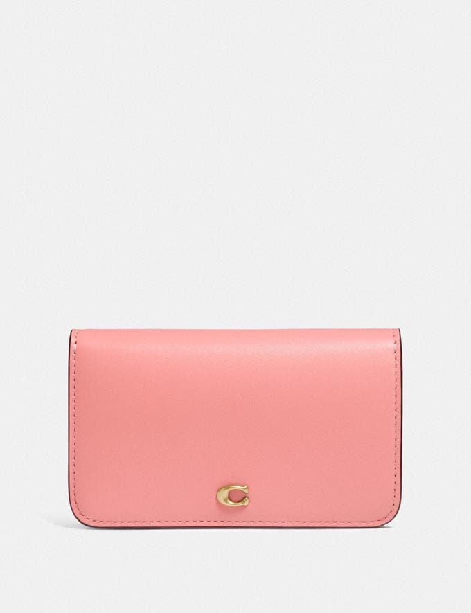Coach Slim Card Case in Colorblock Brass/Candy Pink Multi 8.1 newness