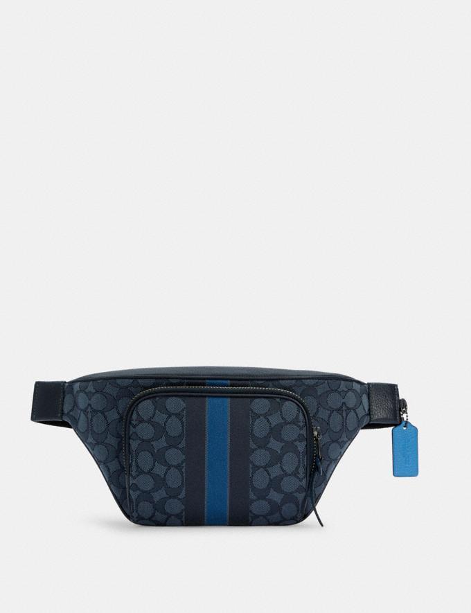 Coach Thompson Belt Bag in Signature Jacquard With Varsity Stripe Qb/Denim Pacific Multi DEFAULT_CATEGORY