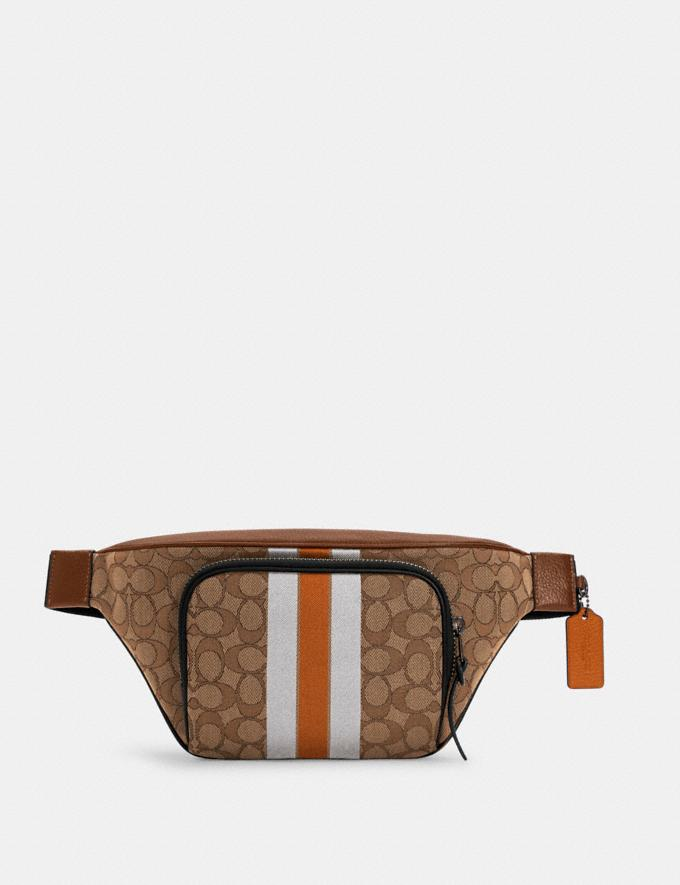Coach Thompson Belt Bag in Signature Jacquard With Varsity Stripe Qb/Khaki Butterscotch Multi DEFAULT_CATEGORY