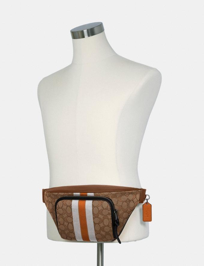 Coach Thompson Belt Bag in Signature Jacquard With Varsity Stripe Qb/Khaki Butterscotch Multi DEFAULT_CATEGORY Alternate View 3