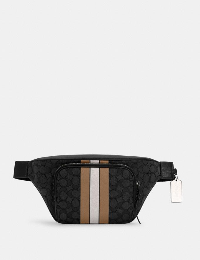 Coach Thompson Belt Bag in Signature Jacquard With Varsity Stripe Qb/Black Elm Multi DEFAULT_CATEGORY
