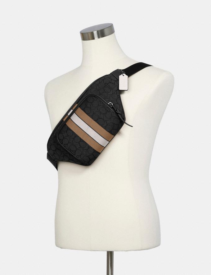 Coach Thompson Belt Bag in Signature Jacquard With Varsity Stripe Qb/Black Elm Multi DEFAULT_CATEGORY Alternate View 4