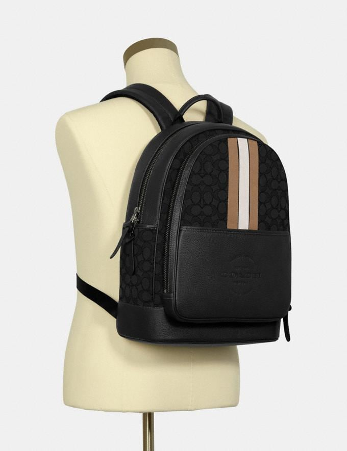 Coach Thompson Backpack in Signature Jacquard With Varsity Stripe Qb/Black Elm Multi DEFAULT_CATEGORY Alternate View 3