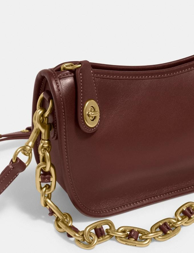 Coach Swinger Bag With Chain B4/Wine  Alternate View 4