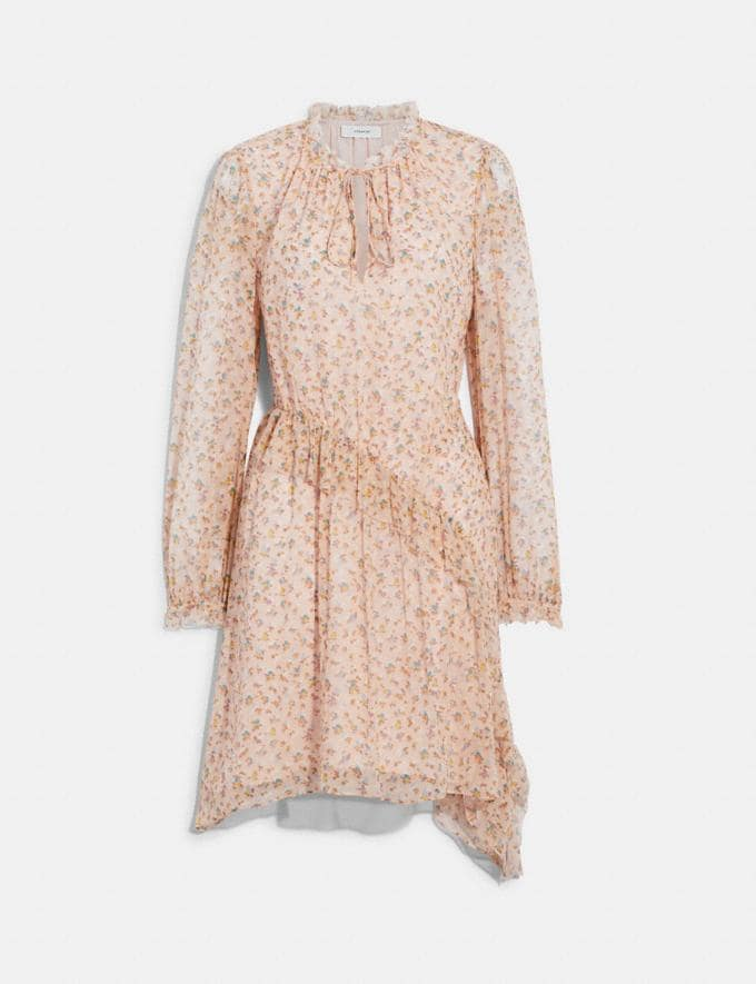 Coach Printed Short Day Dress Pale Pink/Brown 8.1 newness