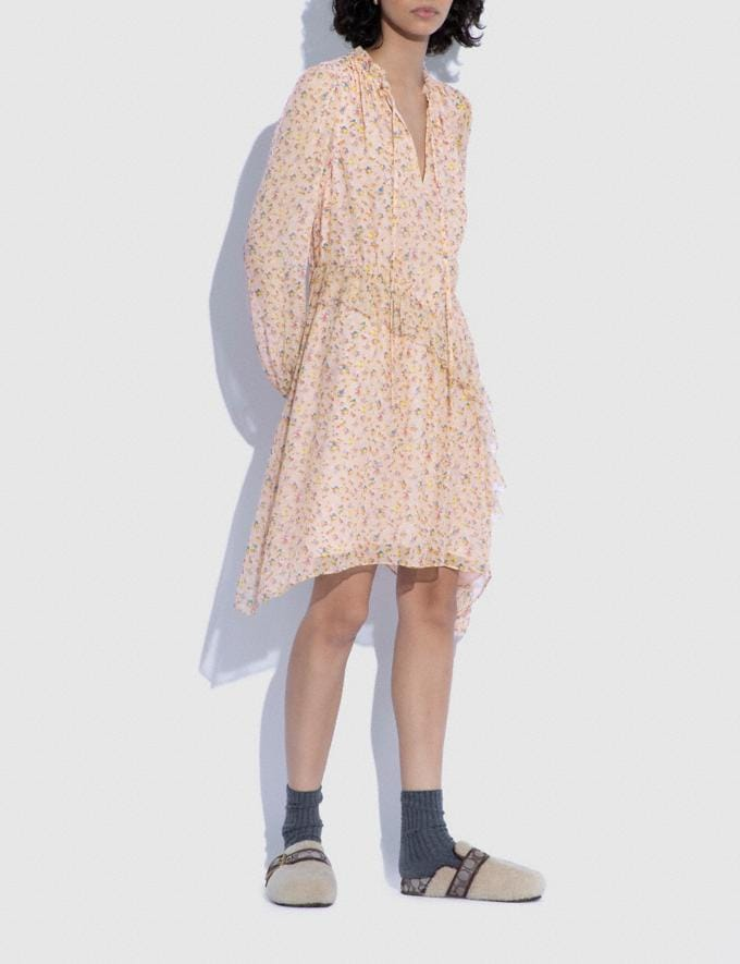 Coach Printed Short Day Dress Pale Pink/Brown 8.1 newness Alternate View 1