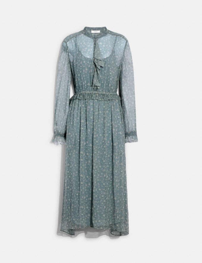 Coach Ruffle Front Dress With Gathered Yoke Grey/Pale Pink 8.1 newness