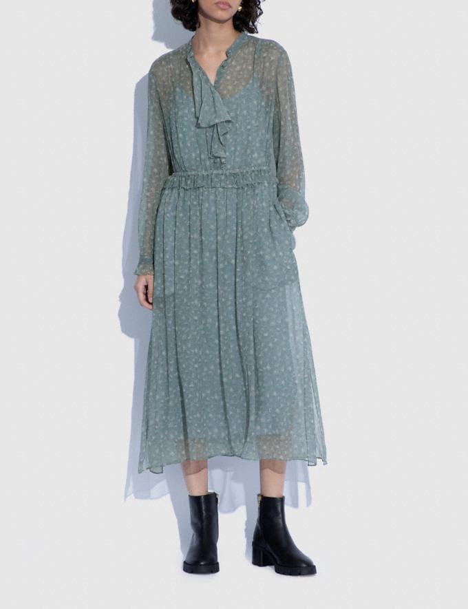 Coach Ruffle Front Dress With Gathered Yoke Grey/Pale Pink 8.1 newness Alternate View 1