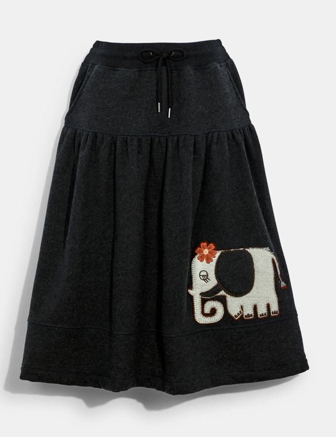 Coach Jersey Skirt With Coverstitch Detail Charcoal