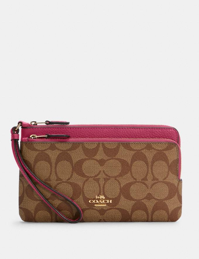 Coach Double Zip Wallet in Signature Canvas Im/Khaki/Bright Violet Translations 8.1 Outlet Newness