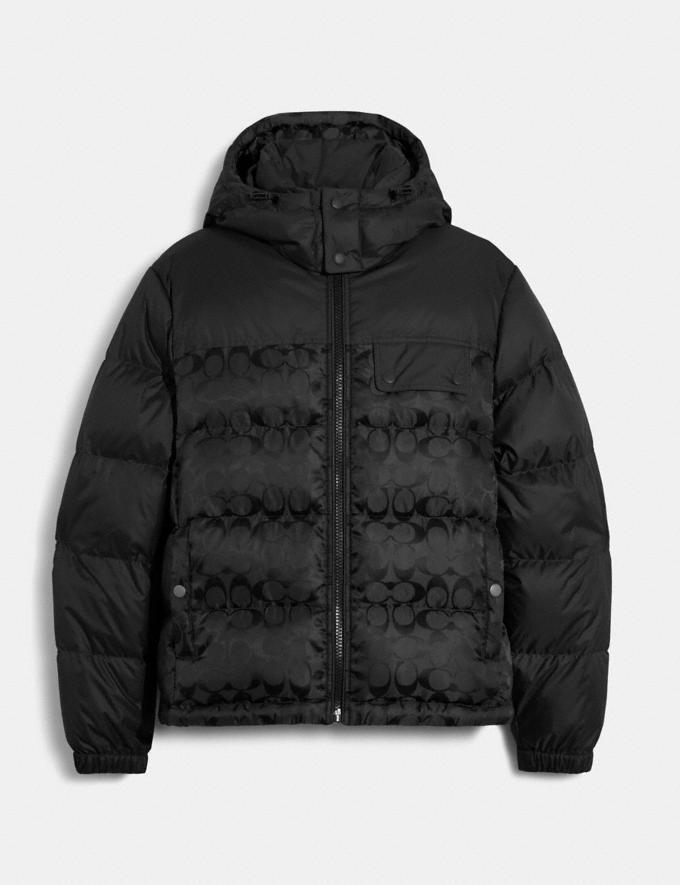 Coach Signature Hooded Puffer Jacket Black 9.1-newness