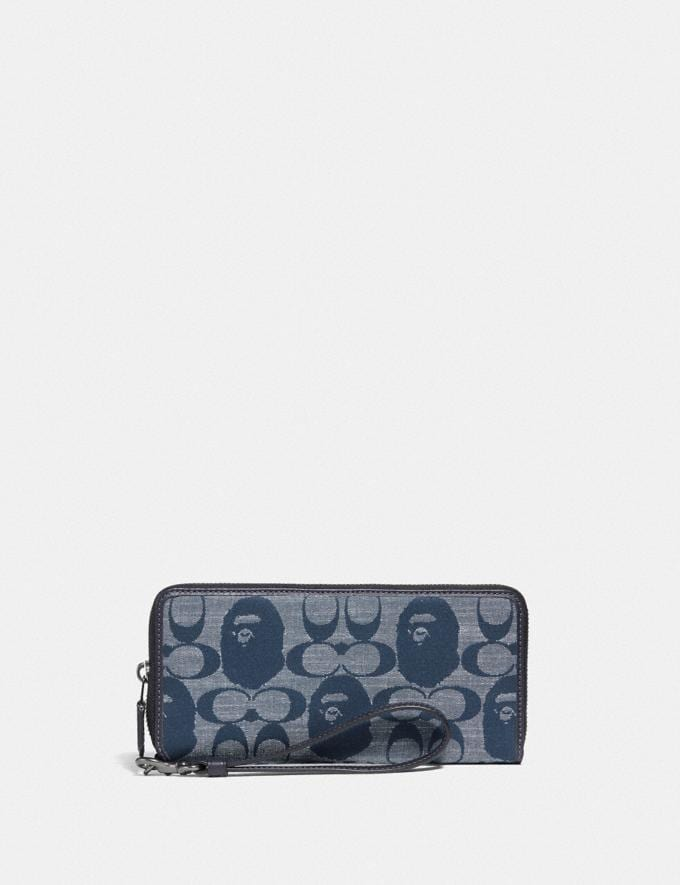 Coach Bape X Coach Phone Wallet in Signature Chambray Pewter/Chambray 7.1 translations