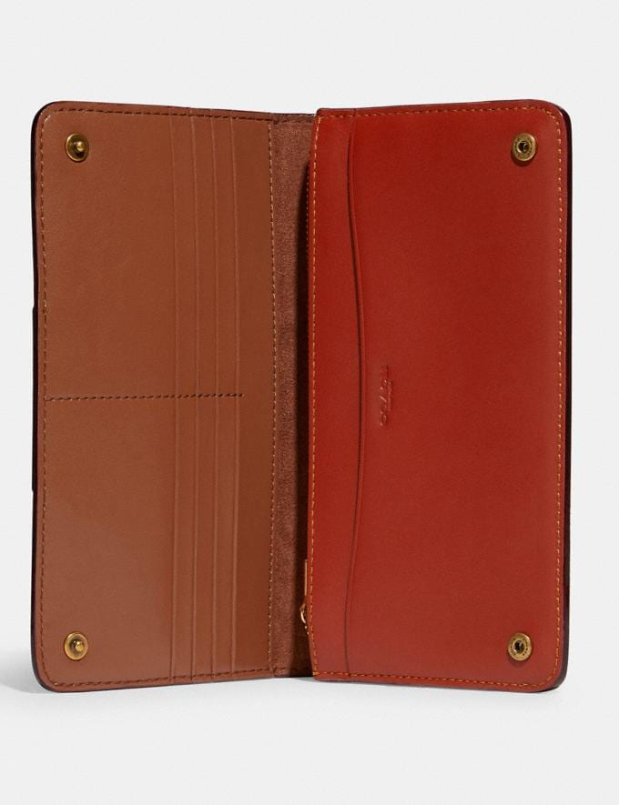 Coach Slim Wallet in Signature Canvas Brass/Tan Rust 8.1 newness Alternate View 1