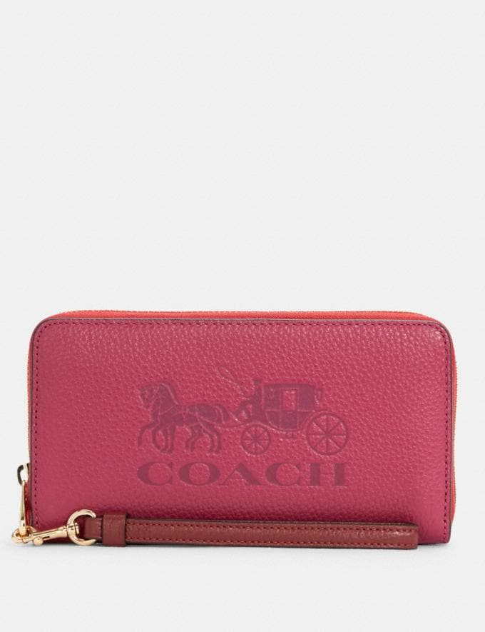 Coach Long Zip Around Wallet in Colorblock With Horse and Carriage Im/Bright Violet Multi Translations 8.1 Outlet Newness