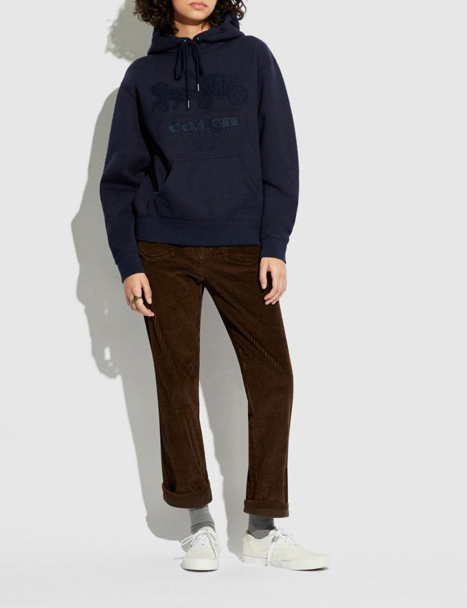 Coach Horse and Carriage Hoodie in Organic Cotton and Recycled Polyester Navy  Alternate View 1