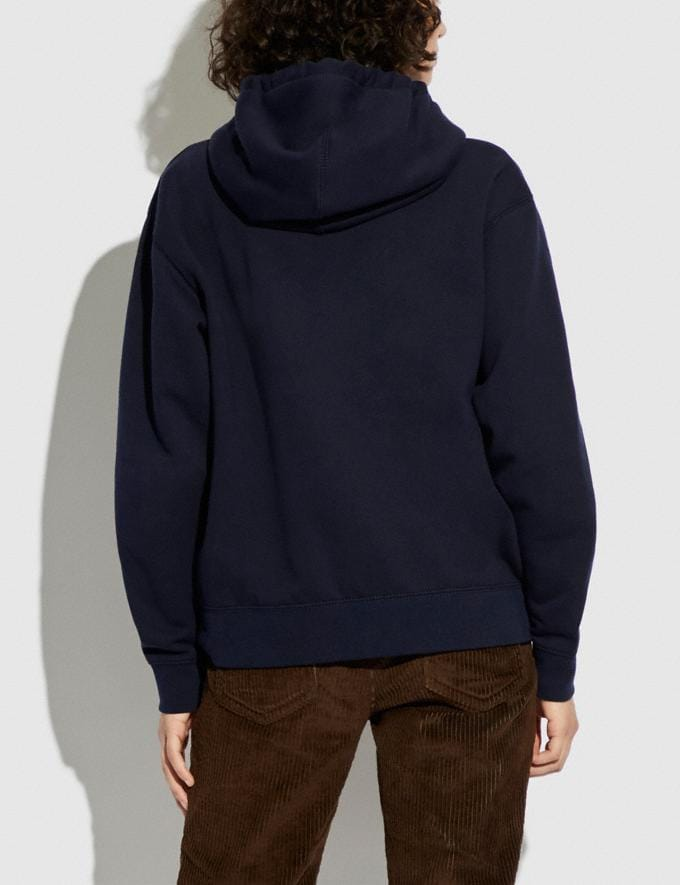 Coach Horse and Carriage Hoodie in Organic Cotton and Recycled Polyester Navy  Alternate View 2