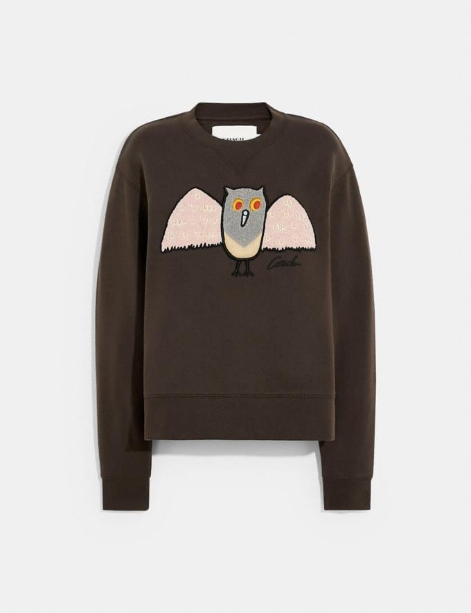 Coach Owl Sweatshirt in Organic Cotton and Recycled Polyester Brown