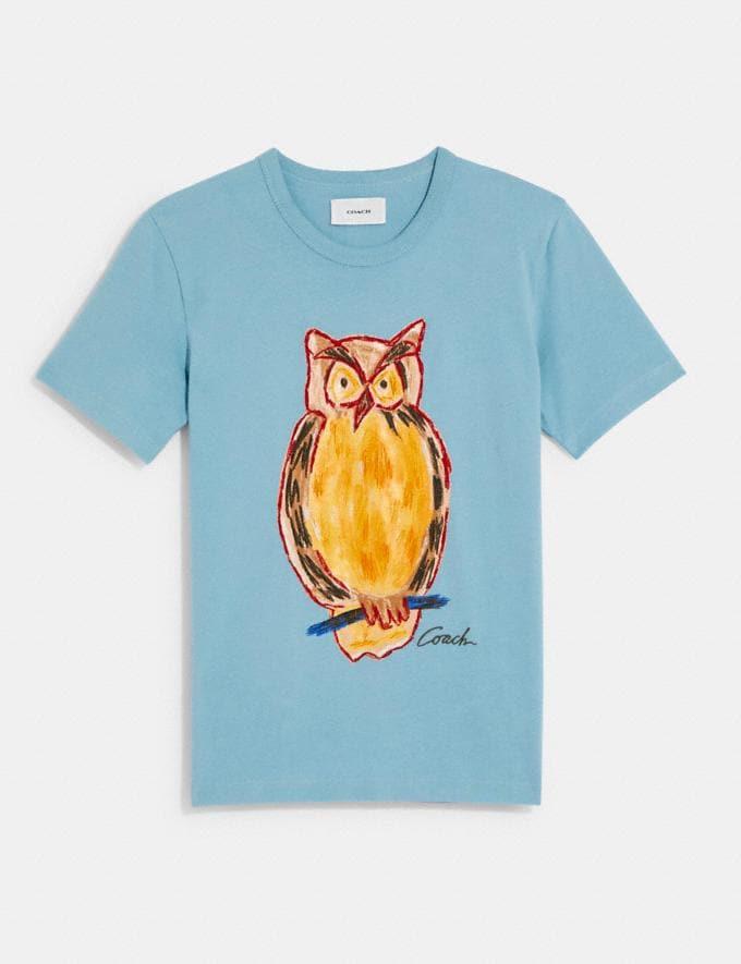 Coach Painted Owl T-Shirt Pale Blue