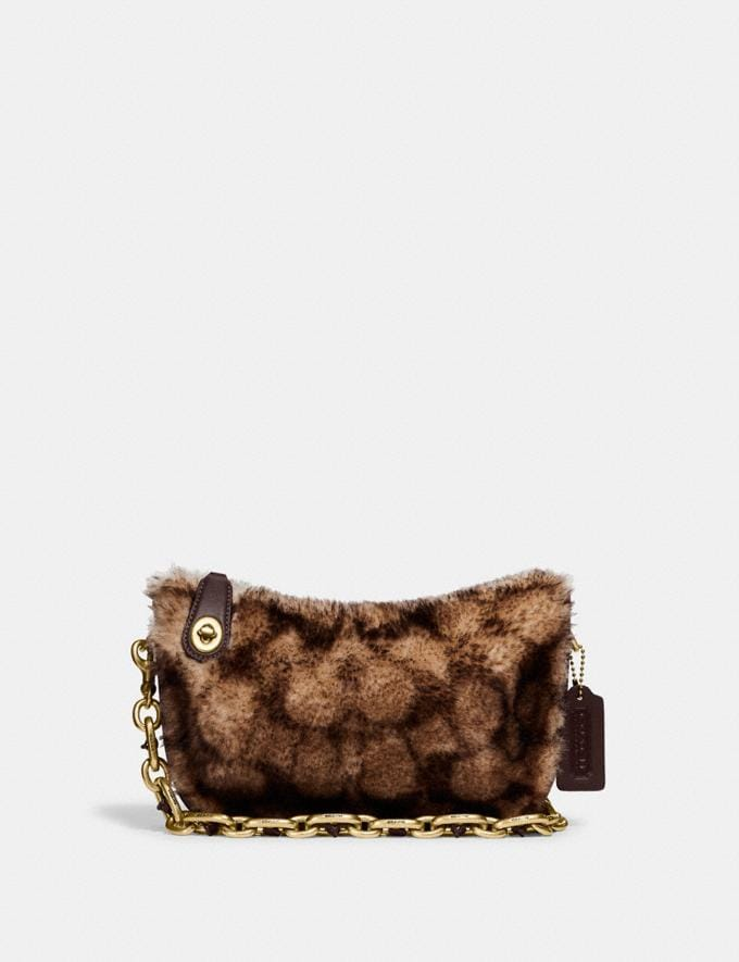 Coach Swinger Bag With Chain in Signature Shearling B4/Chestnut Dark Teak Translations 10.1 retail newness