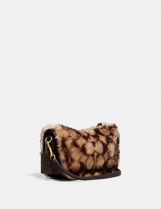 Coach Swinger Bag With Chain in Signature Shearling B4/Chestnut Dark Teak Translations 10.1 retail newness Alternate View 1