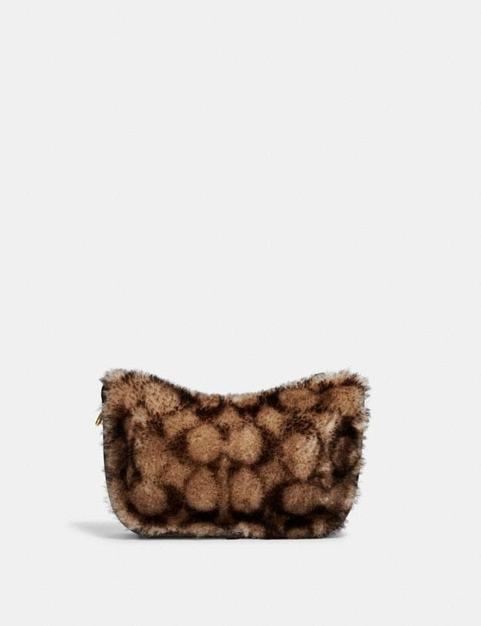 Coach Swinger Bag With Chain in Signature Shearling B4/Chestnut Dark Teak Translations 10.1 retail newness Alternate View 2
