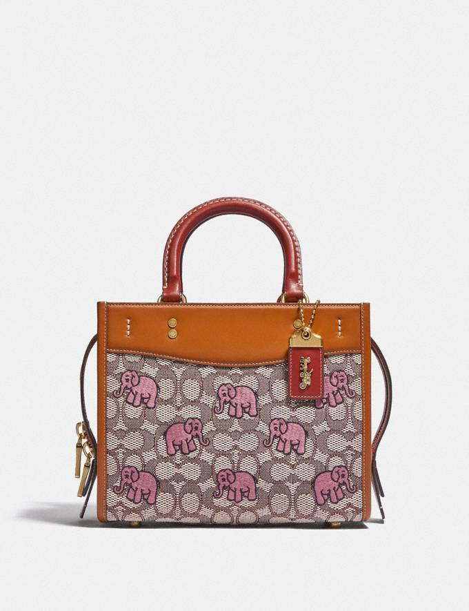 Coach Rogue 25 in Signature Textile Jacquard With Embroidered Elephant Motif B4/Cocoa Burnished Amb