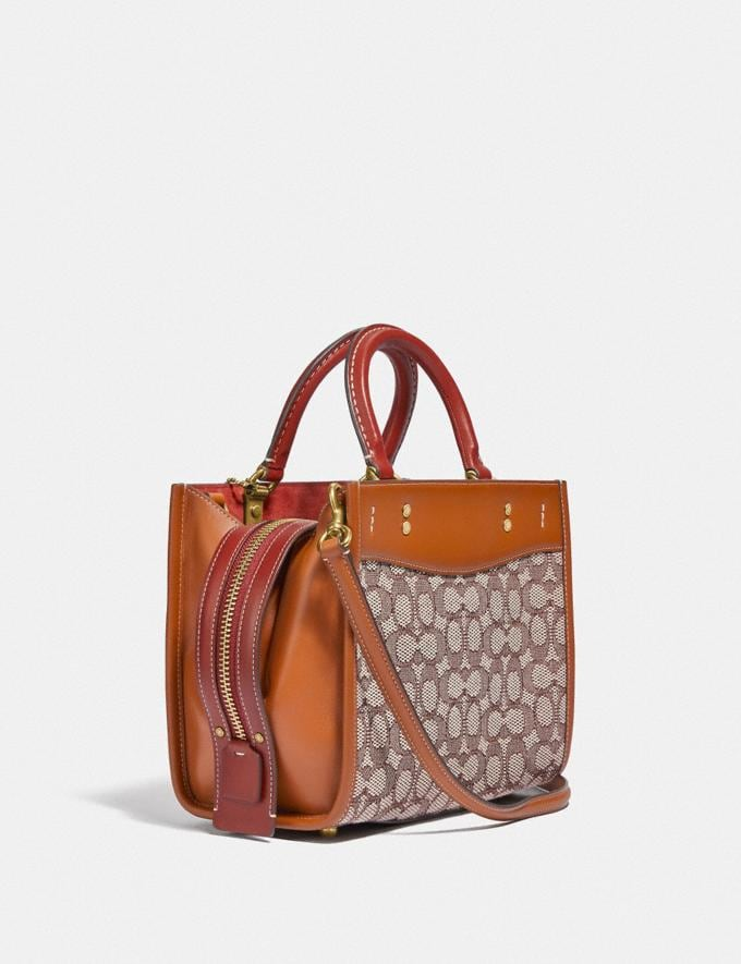 Coach Rogue 25 in Signature Textile Jacquard With Embroidered Elephant Motif B4/Cocoa Burnished Amb  Alternate View 1