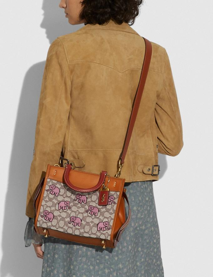 Coach Rogue 25 in Signature Textile Jacquard With Embroidered Elephant Motif B4/Cocoa Burnished Amb  Alternate View 5