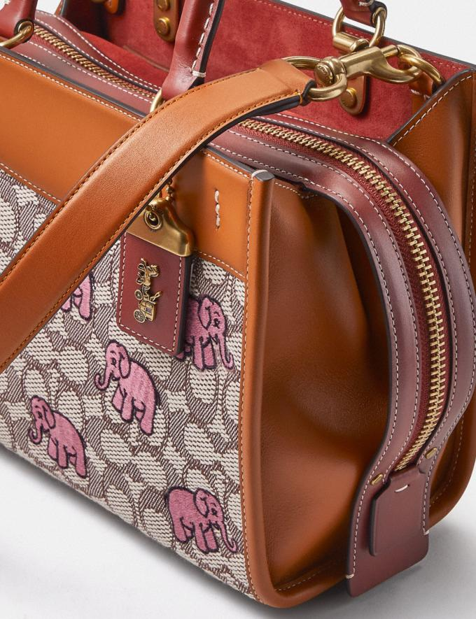 Coach Rogue 25 in Signature Textile Jacquard With Embroidered Elephant Motif B4/Cocoa Burnished Amb  Alternate View 6