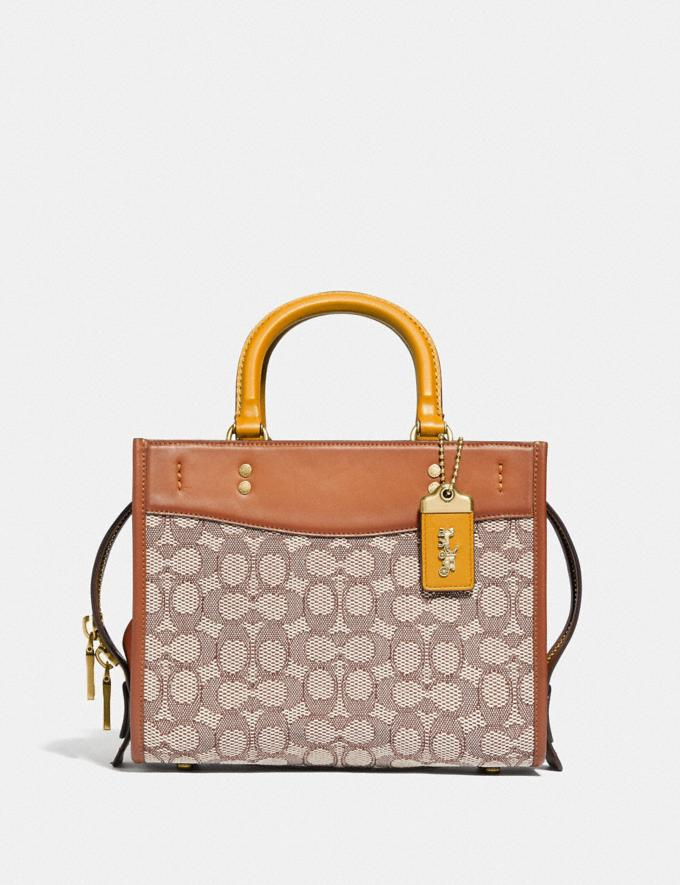 Coach Rogue 25 in Signature Textile Jacquard B4/Cocoa Burnished Amb Translations 11.1&10.1additions Outlet
