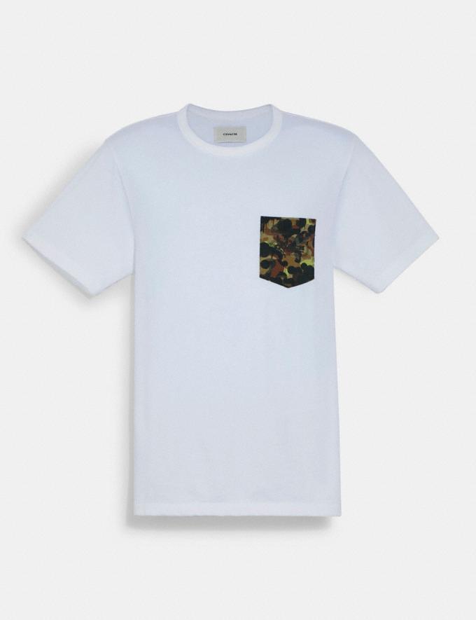 Coach T-Shirt Tinta Unita Con Taschino a Stampa Mimetica in Cotone Biologico Bianco