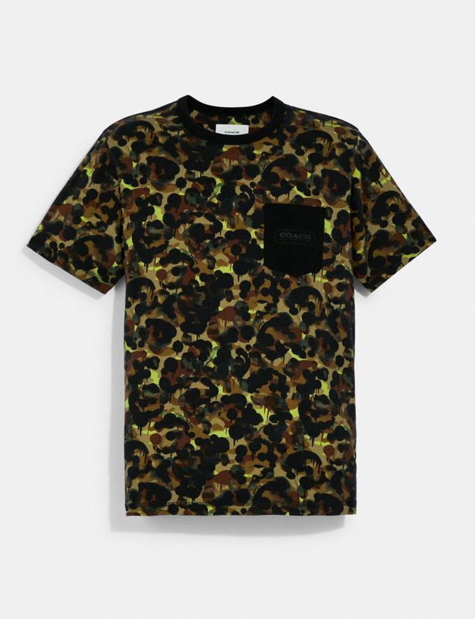 Coach T-Shirt Avec Poche Et ImprimÉ Camouflage En Coton Biologique Vert Fluo Jaune Multi