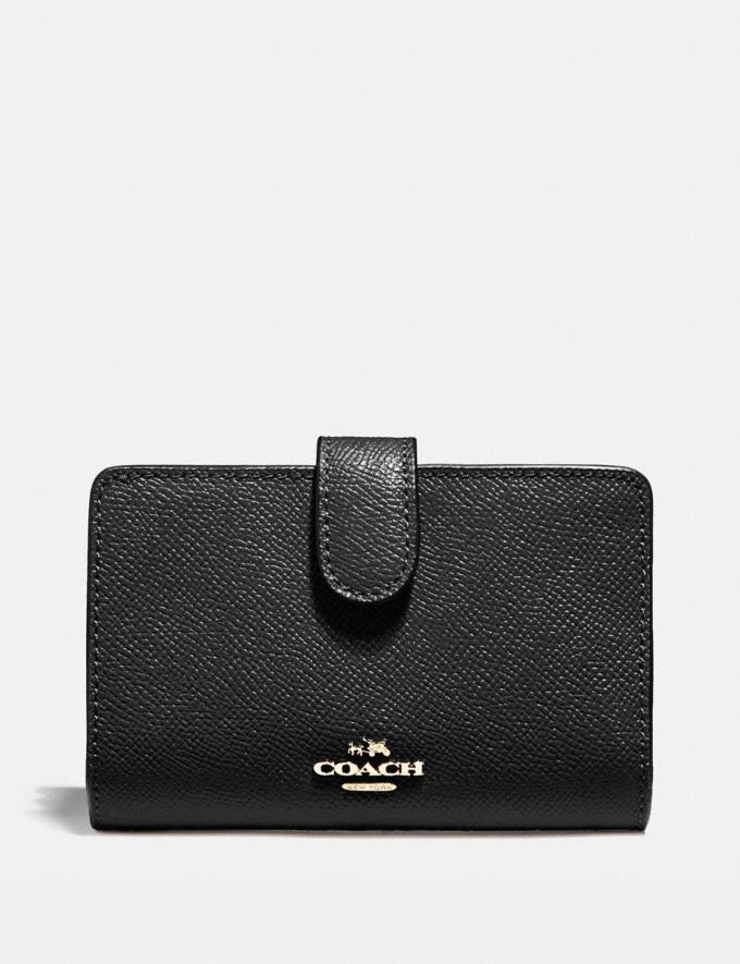 Coach Medium Corner Zip Wallet Black/Light Gold