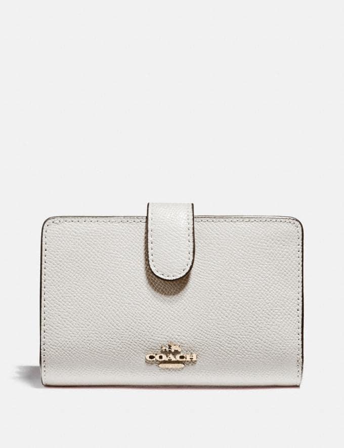 Coach Medium Corner Zip Wallet Chalk/Light Gold Explore Women Explore Women Wallets