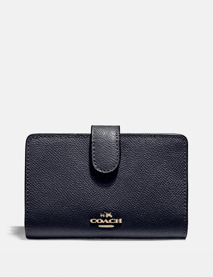 Coach Medium Corner Zip Wallet Midnight/Light Gold Explore Women Explore Women Wallets
