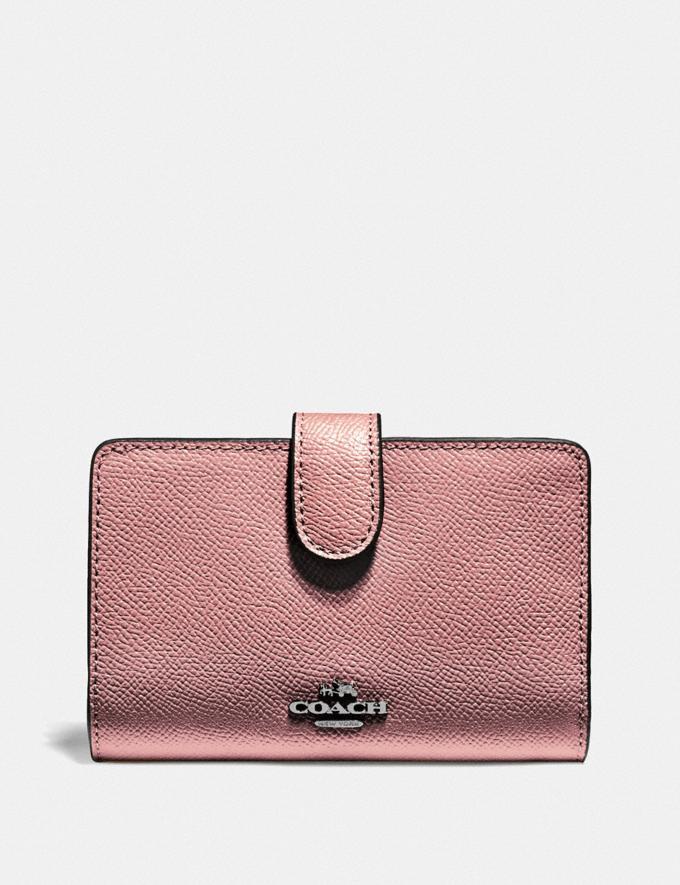 Coach Medium Corner Zip Wallet Qb/Metallic Dark Blush Explore Women Explore Women Wallets