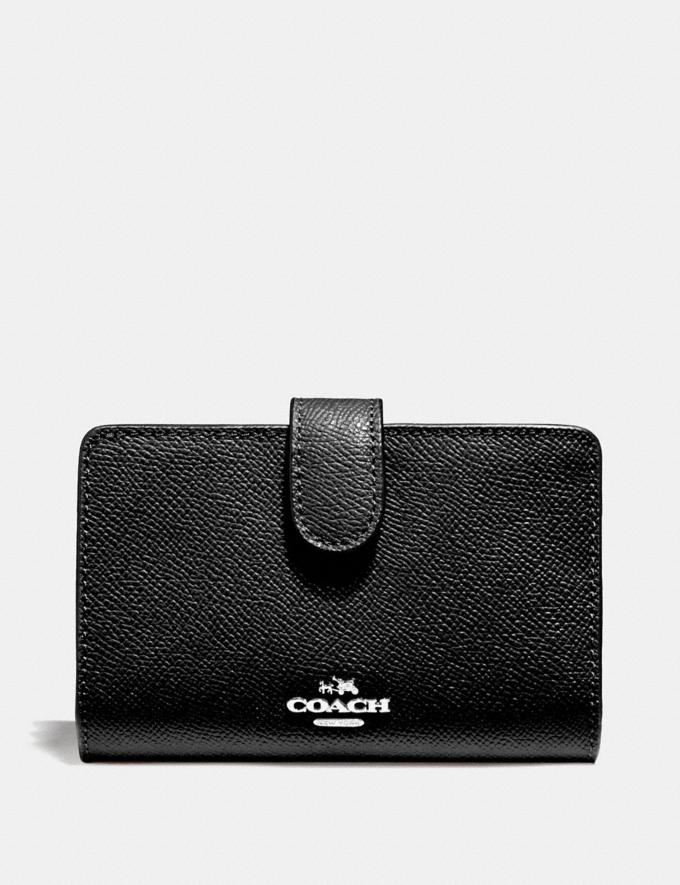 Coach Medium Corner Zip Wallet Sv/Black Explore Women Explore Women Wallets
