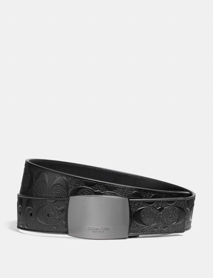 Coach Wide Plaque Cut-To-Size Reversible Signature Belt Black/Black