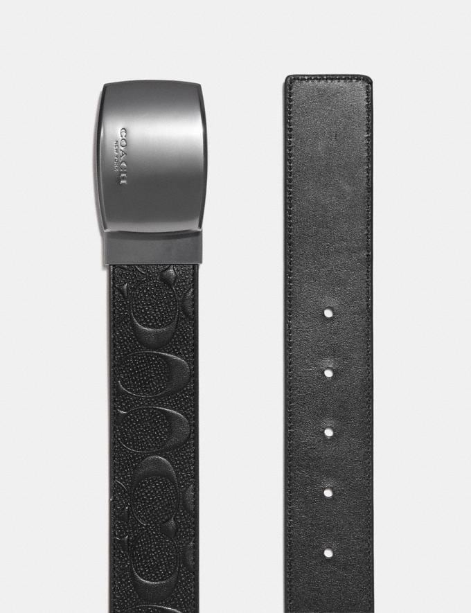 Coach Wide Plaque Cut-To-Size Reversible Signature Belt Black/Black  Alternate View 1