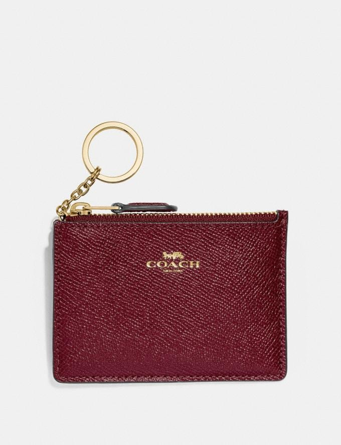 Coach Mini Skinny Id Case Wine/Imitation Gold Explore Women Explore Women Bag Charms & Accessories
