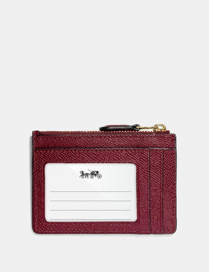 Coach Mini Skinny Id Case Wine/Imitation Gold Explore Women Explore Women Bag Charms & Accessories Alternate View 1