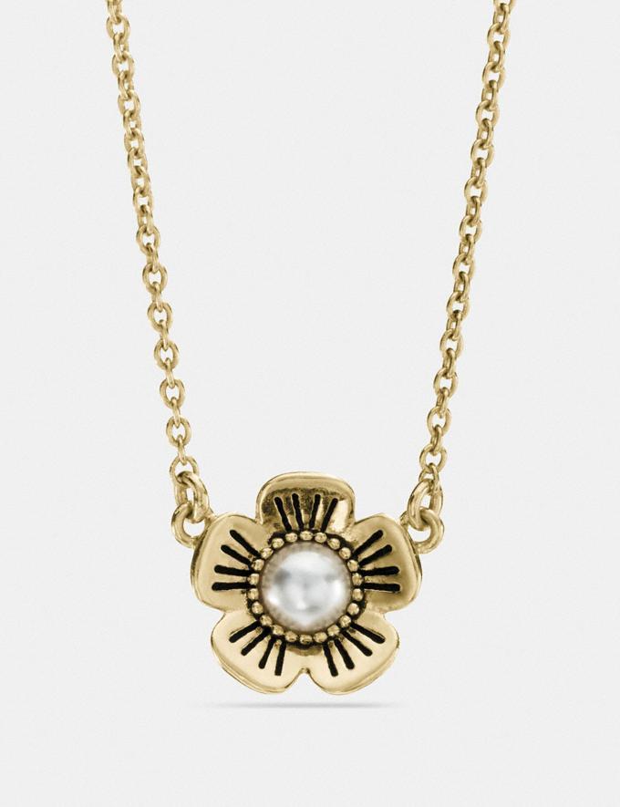 Coach Tea Rose Pearl Necklace Gold Explore Women Explore Women Jewelry & Watches