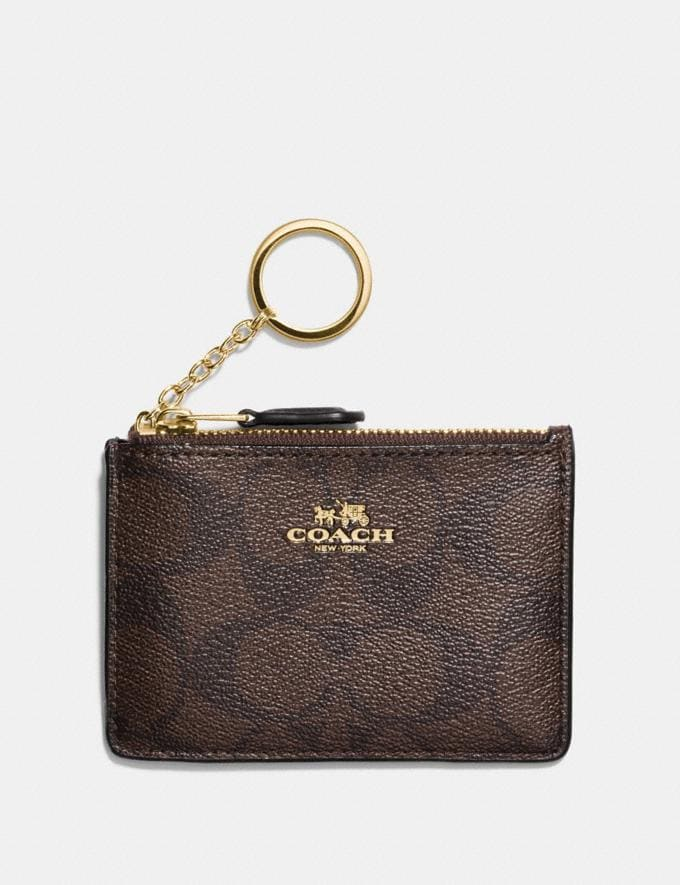 Coach Mini Skinny Id Case in Signature Canvas Brown/Black/Light Gold