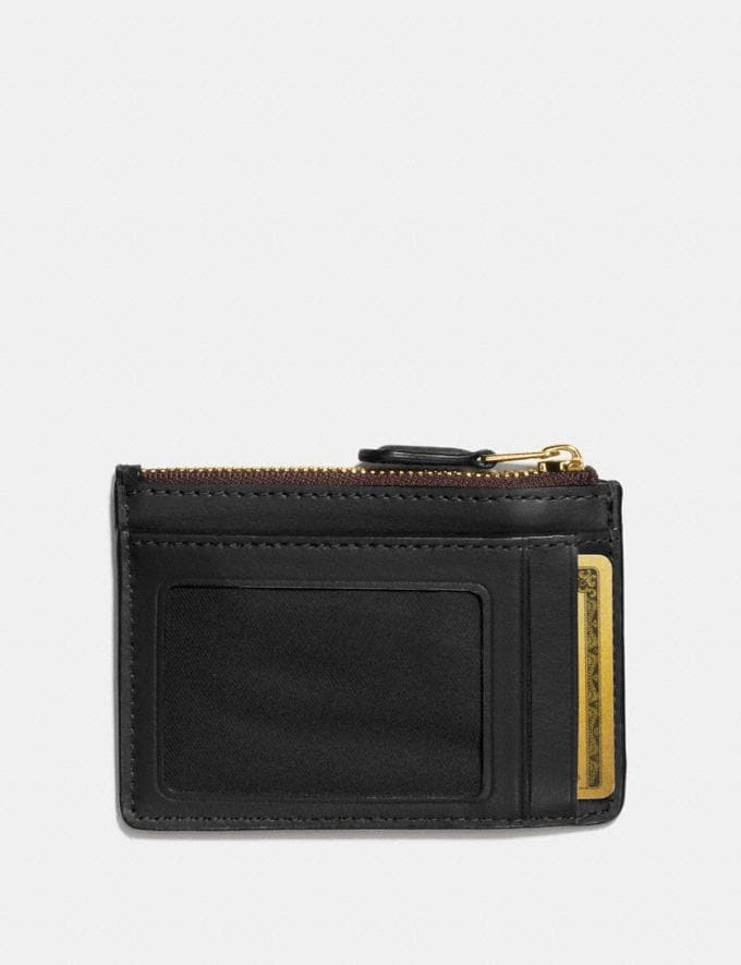 Coach Mini Skinny Id Case in Signature Canvas Brown/Black/Light Gold  Alternate View 1