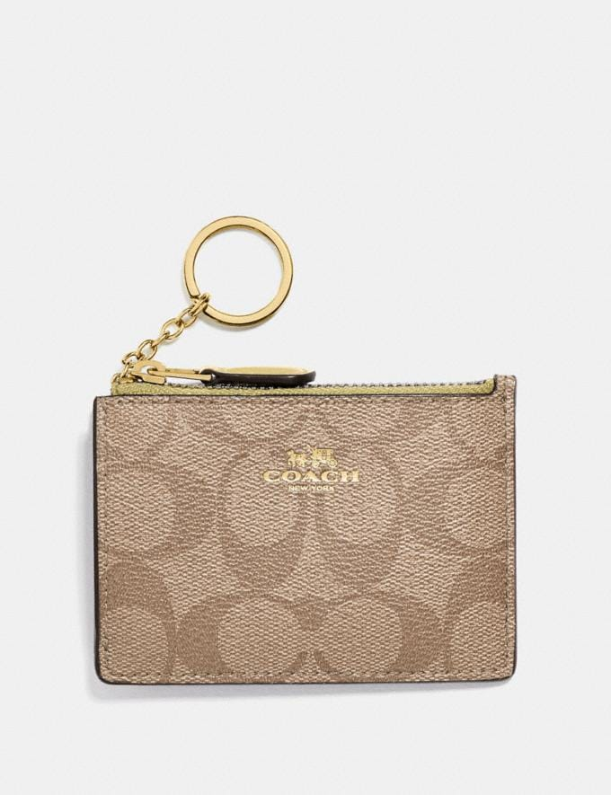 Coach Mini Skinny Id Case in Signature Canvas Khaki/Sunflower/Gold Explore Women Explore Women Bag Charms & Accessories