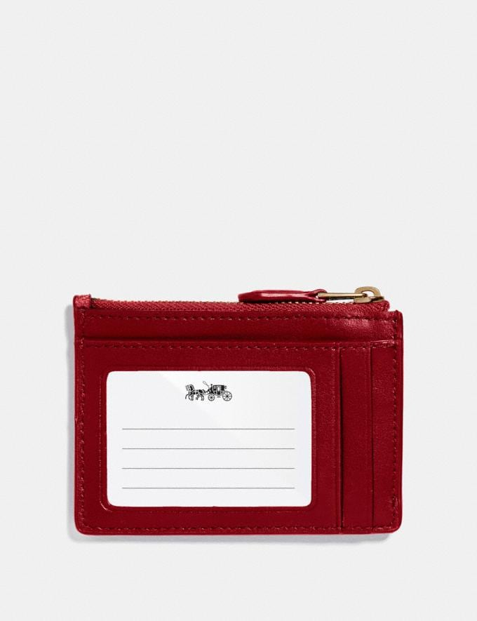 Coach Mini Skinny Id Case in Signature Canvas Brown/True Red/Light Gold Women Bag Charms & Accessories Alternate View 1