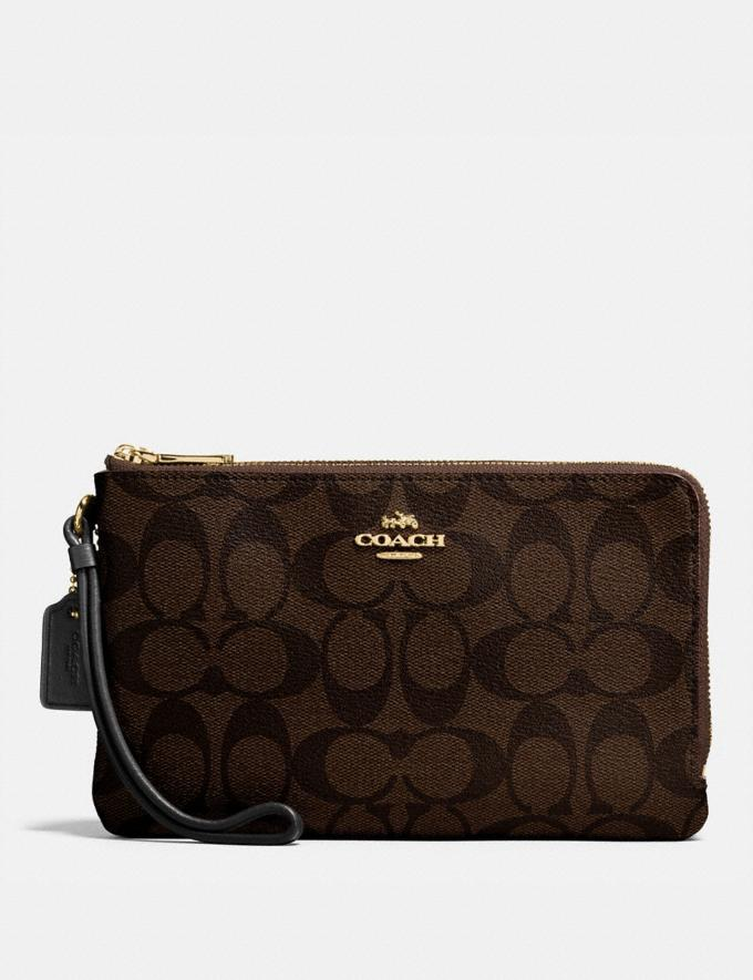 Coach Double Zip Wallet in Signature Canvas Brown/Black/Light Gold Accessories Wallets