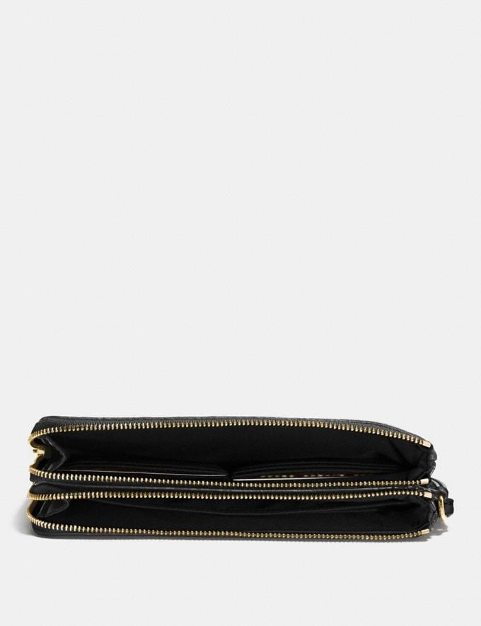 Coach Double Zip Wallet in Signature Canvas Brown/Black/Light Gold  Alternate View 1