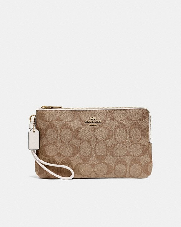 Coach DOUBLE ZIP WALLET IN SIGNATURE CANVAS